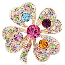 Korean Fashion Full Crystal Clover Brooch Gorgeous Retro Palace Brooch Wholesale Clothing Accessories