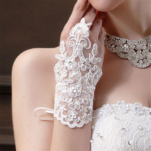 White Lace Gloves Women Bride Party Dress Fingerless Gloves Lace Satin Woman Gloves Guantes Mujer A01