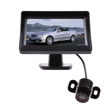 "4.3"" Color TFT LCD Rearview Monitor Parking Kit w/ Rear View Backup Reverse Camera for Automotive w/ 2 Video Input Car-styling(China)"