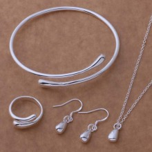 2016 Fashion Jewelry Set Silver Water Drop Necklace&Earring&Ring&Bangle Set AT087-089