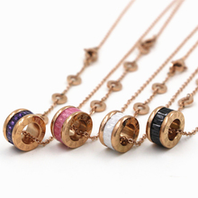 Roman number arc cryolite Four colors Pendants Love Necklace, Famous Brand stainless steel Women Carter bijoux Christmas gifts