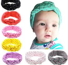 8 PCs/Lot On Sale Girl Turban Tie Crosses Knot Red White Dot Toddler Soft Headband Headwrap Elastic Hair Band Hair Accessories