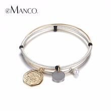 eManco Simple Luxury Multi Layer Bangles for Women Copper Silver Plated Imitation Pearls Charms Bangle Brand Jewelry