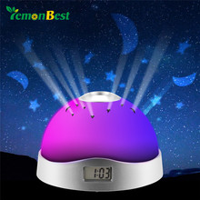 LemonBest 7 Colors Starry Digital Clock Magic 3-LED Projection Alarm Clock Night Moon Star Light Home Decor Gift or Kid Room(China)