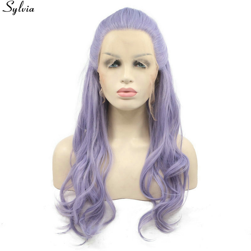 Pastel Lilac Purple Lavender Lace Front Wig Synthetic with Fishtail Braids Natural Long Wavy Wigs Glueless Heat Resistant Sylvia (1)