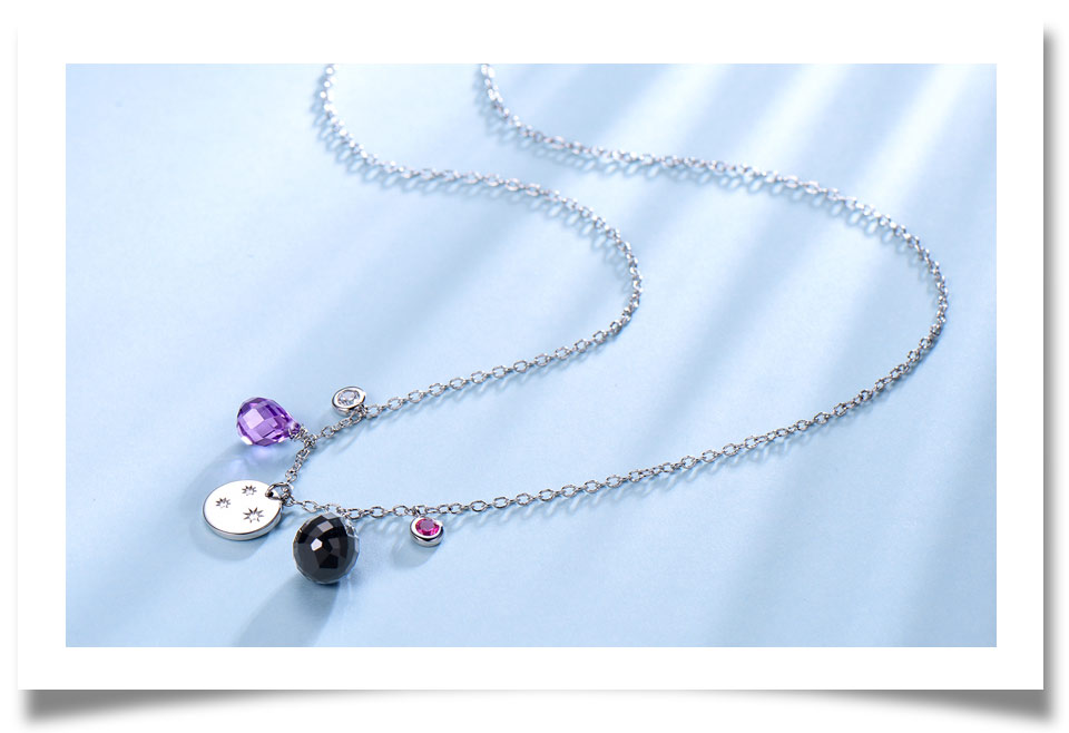 silver amethyst flower necklace for women (4)