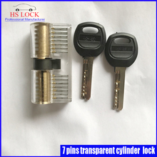 Transparent Cutaway Inside View of 7 pins cylinder Practice Padlock Pick Lock Training Skill Pick for Locksmith Beginner