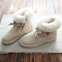 Short hair warm flat shoes women shoes boots short boots rabbit fur shoes and ankle boots winter snow boots art shoes(China)