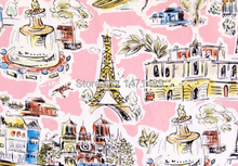 zl028B - 1 Yard Cotton Fabric - Italy Famous Water City Rialto Bridge Basilica of St Francis Leaning Tower of Pisa - Pink (W140)