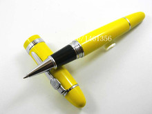 Hot Sale Beautiful Yellow Lacquered With Silver Trim 0.5mm Roller ball Pen On Promotion JINHAO 159(China)
