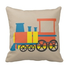Printed Pillow Cases Nursery Train Illustration Kids Room New Throw Pillow Case (Size: 45x45cm) Free Shipping