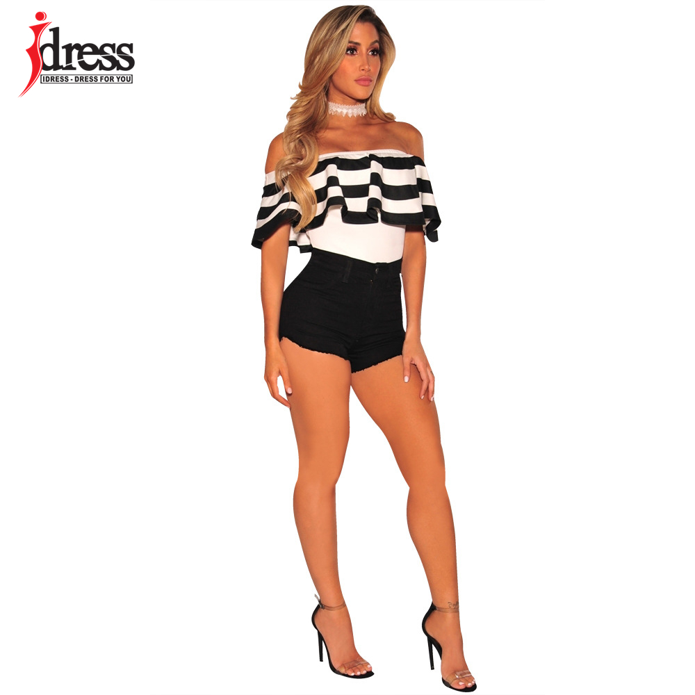 IDress Black and White Striped Bodysuit Women 2017 Summer Ruffles Strapless Off Shoulder Romper Backless Bodycon Women Jumpsuit (7)