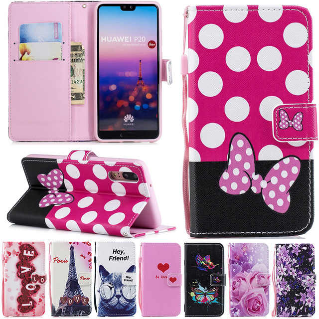 Leather Wallet Flip Case for Huawei Y5 Y6 Y7 Prime 2018 Honor 7A 7C 7S 7X 6C Pro P20 9 Lite 10 Y9 P Smart Flower LOVE Heart