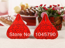 Free Shipping 100 X Red Wedding Candy Boxes European Romantic Heart Wedding Gift Box(China)