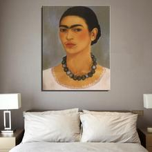 self portrait with necklace Figure Painting American Style Frida Kahlo Spray Frameless Oil Painting Unframed Canvas art(China)