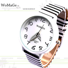 2017 New Top Brand Womage Simple Designer Zebra Crossing Stripe Cow Leather Wrist Watches Girl Children Popular Quartz Clock(China)