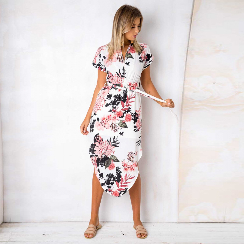 2018 Summer Dress Women Print V Neck Short Sleeve Robe Female Dresses Casual Sashes Midi Dress Ladies Elegant Vestidos Dropship 13