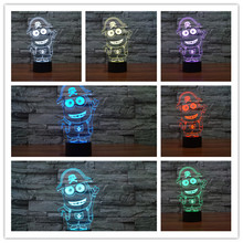 2017 Cartoon Figure Small Yellow People 3D Lamp USB LED luces 7 Colors Change Night Light Kids Toys Sleep Bedroom Table Decor