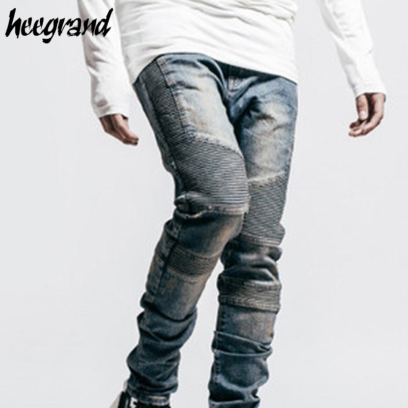 HEE GRAND Men Jeans 2017 New Fashion Mens Biker Motorcycle Jeans Male Slim Fit Blue Black Washed Retro Denim Jean MKN883Îäåæäà è àêñåññóàðû<br><br>