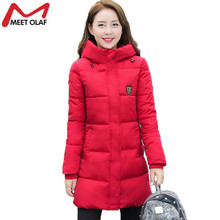 2017 Winter Coat Women Hooded Cotton Padded Parkas Grils Student Wadded Warm Outwear Jackets and Coats Female Long Outwear YL020