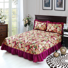 Bedding cotton set 3pcs/set quilted bedspread + 2 pillowcase Ruffles Bed cover cotton pad dust ruffle Princess Lace Petticoat(China)
