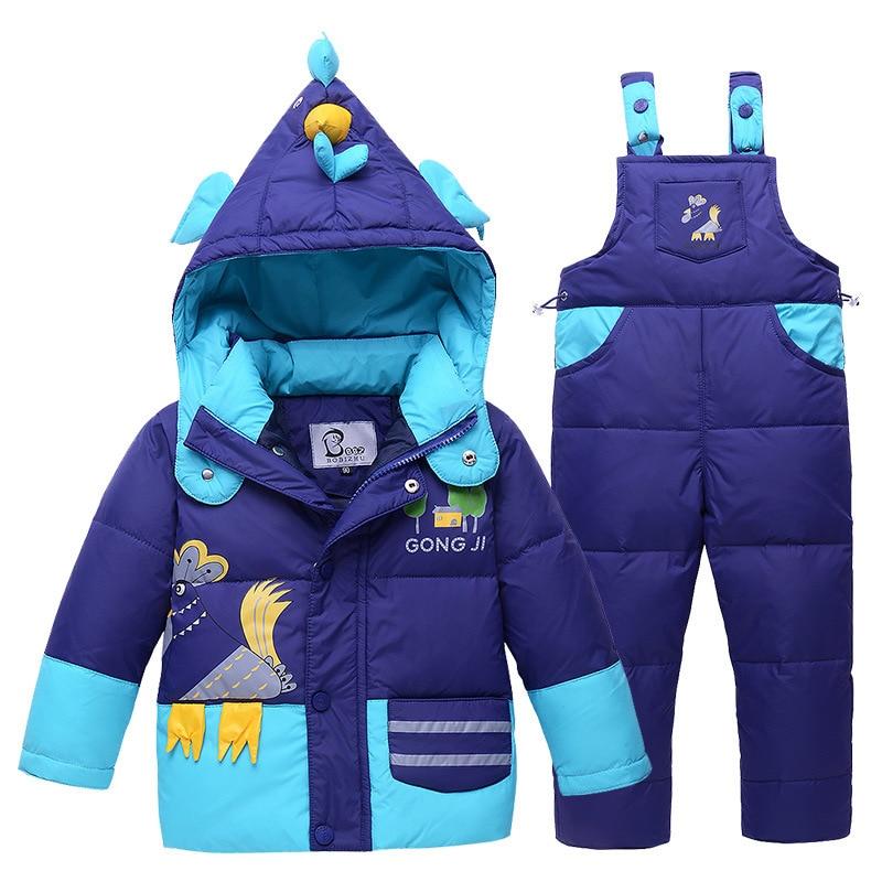 2017 New Hot Sale Baby Boys Children Winter Down Jacket Cartoon Suit Set With Hat Thick Coat+Jumpsuit Clothes Set Animal PatternÎäåæäà è àêñåññóàðû<br><br>