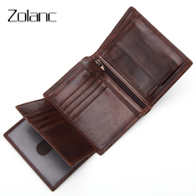 Genuine Leather Card Holder Coin Purse Pocket Retro Three Fold Wallet Men's Wallet First Layer Leather Male Retro Bag for Dollar(China)