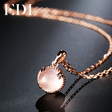 EDI Genuine 7mm Natural Gemstone Rose Quartz Crystal 100% 925 Sterling Silver Pendant Fine Jewelry For Women(China)