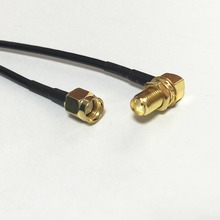 "New RP SMA  Male Plug To SMA Female Jack nut Right Angle Connector RG174 Coaxial Cable 20CM 8"" Adapter Pigtail"