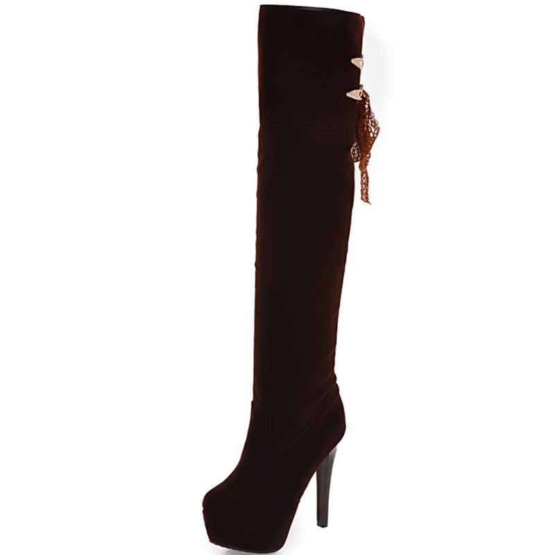 Diamond metal sheet and Lace lace women boots Waterproof Solid Colour small Round Toe Thin heel  knee boots size 33-43 T1925<br>