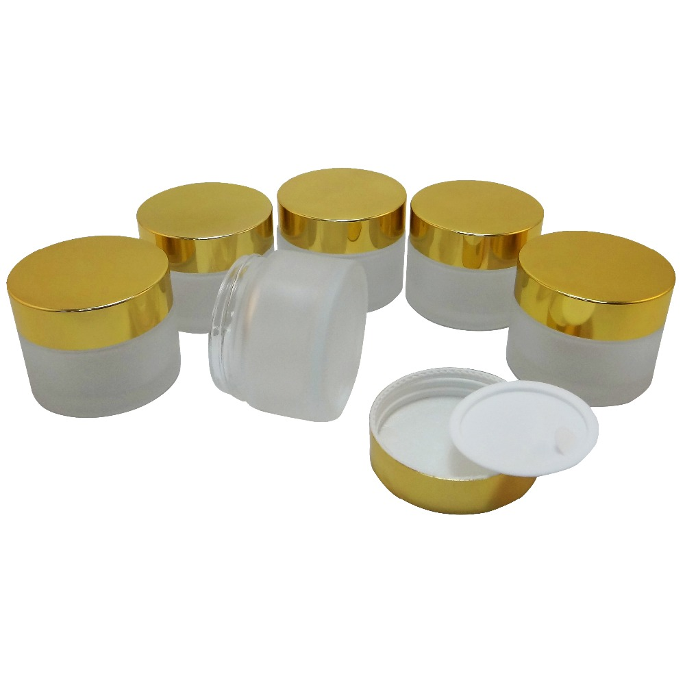 6 PCS 50 ml Frost Glass Makeup Cream Jar w Shiny Gold Aluminum Plastic Lid (AY200F-50)<br><br>Aliexpress