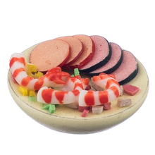 New 1:12 Seafood Salad On A Plate Dolls House Miniature Food Accessory Classic Pretend Play Kitchen Toys Creative Gifts Presents