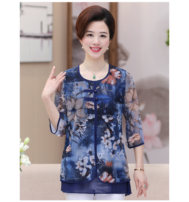 WAEOLSA Chinese Style Woman Ethnical Chiffon Blouses Gray Blue Red Green Flower Layered Tops Women Oriental Boon Design Blouse Lady Crepe Tunic (6)