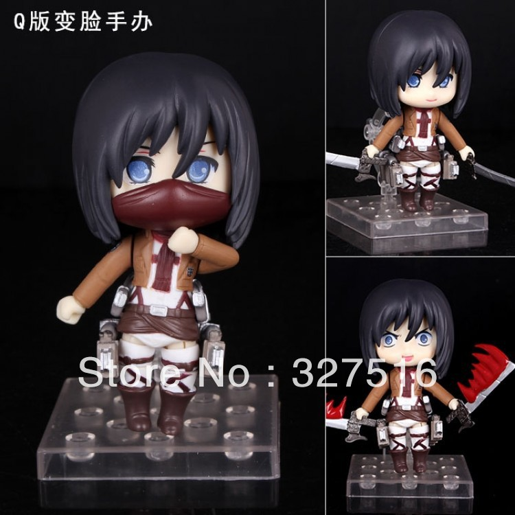 Sells Japanese anime  Attack on Titan PVC  Action Figure toys cute Mikasa Ackerman Changing face model toy  free shipping<br><br>Aliexpress