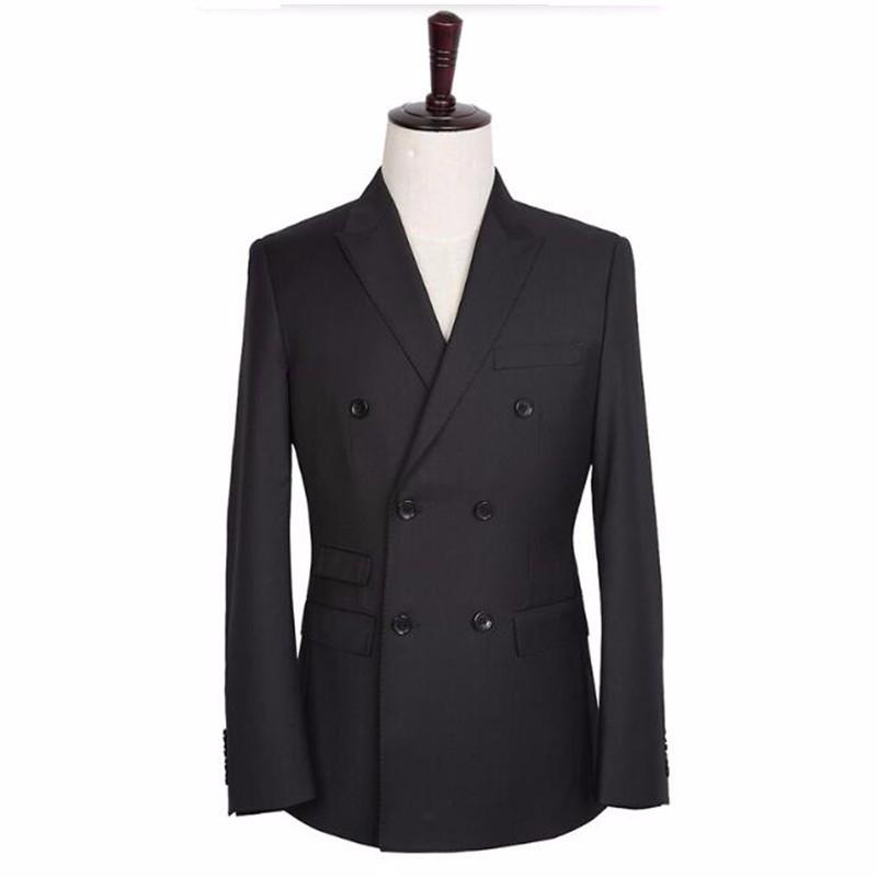 17 (1) Black men suits jacket double breasted men wedding tuxedos jacket tailor made groom best man suits jacket