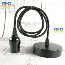 Sample order E27 UL DIY Edison lamp fixture black E26 bakelite socket plastic lamp holder with black cable and ceiling plate