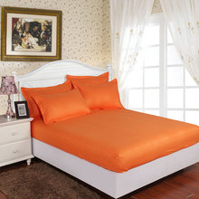 1pcs 100% Cotton Satin Stripe Mattress Cover Hotel Home Orange Solid Color Fitted Bed Sheet Bedspread Twin Full Queen King Size(China)