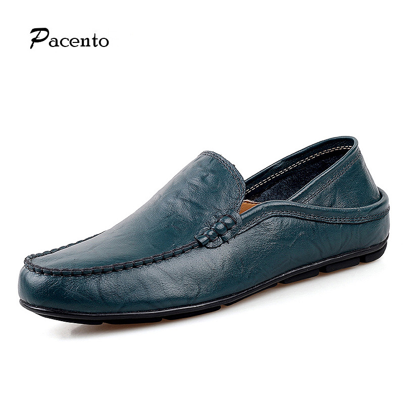 PACENTO Summer Casual Mens Loafers Genuine Leather High Quality Men Shoes Soft Moccasins Flats Large Size 11 12 Chaussure Homme<br>