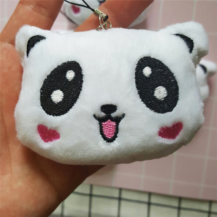 Fashion Panda Emoji Plush Toys Key Chain Ring Pom Bear Keychain Woman Bag Charms Man Car Keyring Wedding Party Trinket Jewelry (11)__