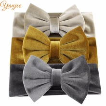 Party 5inches Big Smooth Velvet Kids Girl Hair Bows Elastic Headbands Fall/Winter Warm Headwrap Birthday Party Hair Accessories(China)