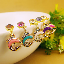 cut lovely dolphins dust plug fashion rhinestone crystal plug cell phone accessories