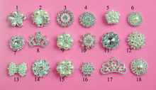 Free shipping 20~30mm metal pearl crystal rhinestone buttons flatback MIX STYLES 100PCS/LOT (M-2)