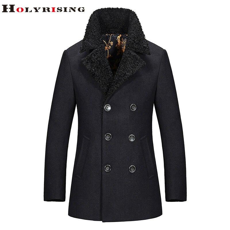 Trendy Autumn Winter Men Wool Jackets Warm Collar Coats Long Thcik Single Button Outwear M-3XL 3Clours Choose M-3XL Holyrising