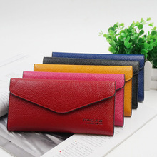 Brand Genuine Leather Women Wallets Long thin ladies coin Purse Cowhide Cards Holder Clutch bag Fashion magic Wallet female