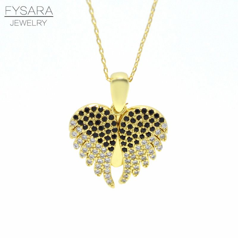 FYSARA Charms Angels Wings Pendent Necklace for Women Jewelry AAA Crystal Paved Short Necklace Love Heart Necklace Chain Collar(China)