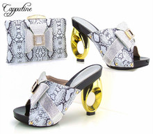 Capputine Lastest Style Woman Silver Shoes And Bag To Match For Parties African Style Shoes And Bag Set Free Shipping Size 37-43(China)