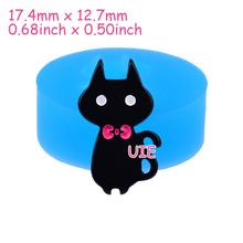 DYL407U 17.4mm Cat with Bow Silicone Mold - Animal Mold Fondant, Cupcake Topper, Resin Jewelry Making, Gum Paste, Candy, Icing