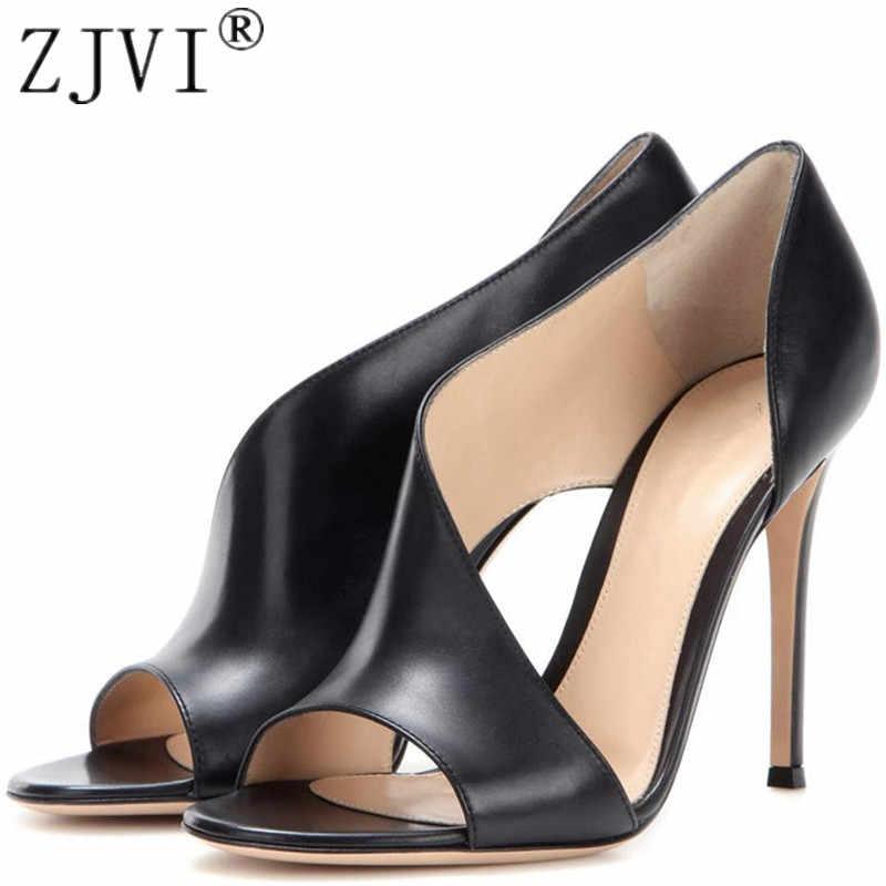 ae74a7dc8ce ZJVI woman fashion peep toe sandals ladies 12cm thin high heels shoes for  women summer cow