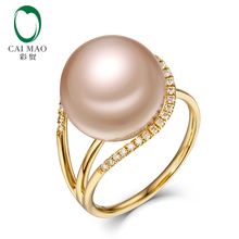 New collection 18k Yellow Gold precious 12-13mm Round Freshwater Pearl Ring 0.18ct Natural Diamond manufacturer(China)