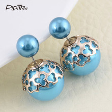 Hot Selling Earring Jewelry Candy Color Double Face Earrings For Women Lovely Heart Design Gold Color Round Stud Earrings